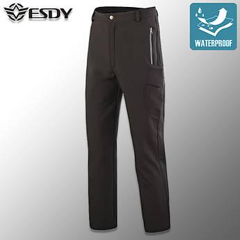 """🔥 Штаны Soft Shell утепленные """"ESDY. 190"""" (черные) тактические, брюки полиции, теплые, карго"""