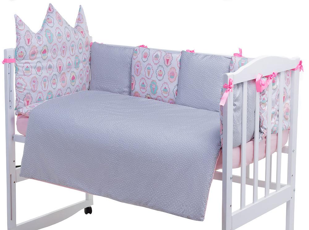 Дитяча постіль Babyroom Classic Bortiki-01 (6 елементів) рожевий-білий-сірий (кекси)
