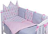 Дитяча постіль Babyroom Classic Bortiki-01 (6 елементів) рожевий-білий-сірий (кекси), фото 2