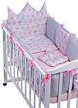 Дитяча постіль Babyroom Classic Bortiki-01 (6 елементів) рожевий-білий-сірий (кекси), фото 3