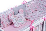 Дитяча постіль Babyroom Classic Bortiki-01 (6 елементів) рожевий-білий-сірий (кекси), фото 4