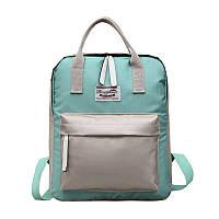 Зеленый городской рюкзак с серыми вставками