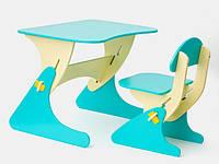 Детский столик и стульчик Sportbaby с регулировкой высоты голубой с желтым