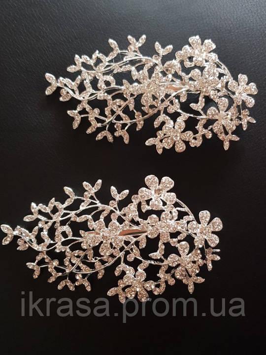 Широка заколка для зачіски або збоку з квітами 1 шт  (13×7 см)