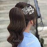 Широка заколка для зачіски або збоку з квітами 1 шт  (13×7 см), фото 2