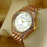 Женские наручные часы Michael Kors A152-1 золотого цвета с серебряным циферблатом металлическом браслете