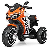 Детский трехколесный мотоцикл на аккумуляторе M 4053L-7 оранжевый