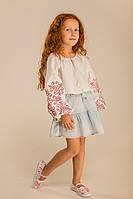 Детская вышиванка для девочки с растительным орнаментом белая