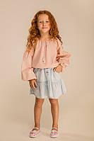 Вышиванка для девочки с растительным узором светло-персиковая