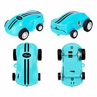 Голубая мини машинка с лазером в прозрачной колбе Rapid Monster | бешеная игрушка SUNROZ S168 | спинер