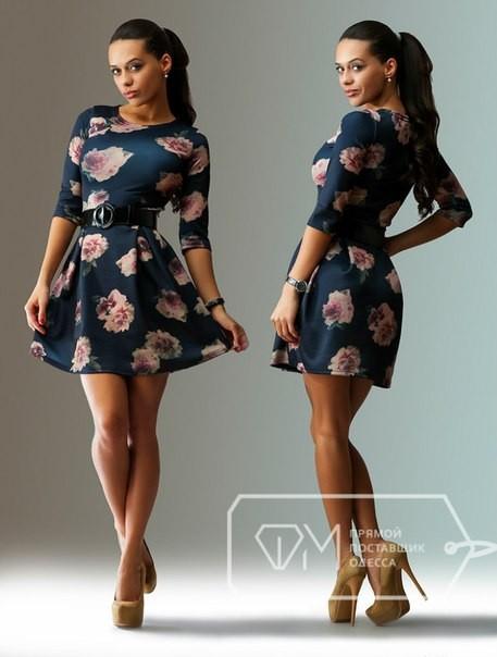 726016e801d72f5 Короткое темно-синее платье с розовыми цветами - Интернет магазин одежды  EuroFashion в Киеве