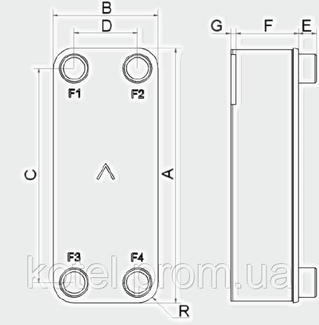Паяный теплообменник Swep V25 ― схема, размеры