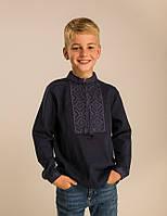 Вышиванка для мальчика темно-синяя, фото 1
