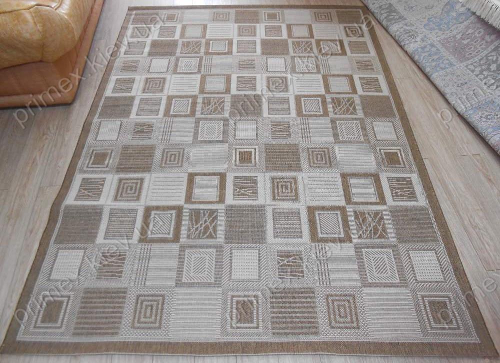 Безворсовый ковер-рогожка Лоскутки коричневый с бежевым