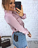 Хлопковая женская рубашка с карманами на груди vN1363, фото 3