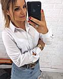 Хлопковая женская рубашка с карманами на груди vN1363, фото 4