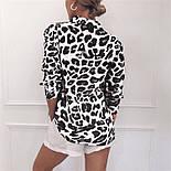 Женская рубашка с принтом черно-белый леопард vN1381, фото 2