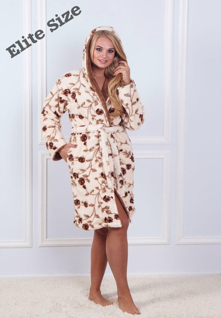 (от 42 до 50 размера) Женский халат принтованный с капюшоном в расцветках vN1456