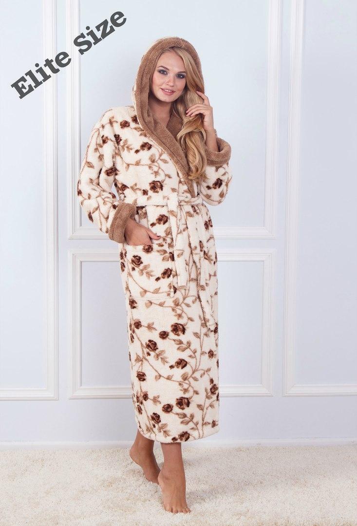 (от 42 до 50 размера) Женский халат длинный принтованный с рисунком  vN1459