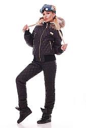 Женский зимний стеганный костюм с мехом в расцветках vN1494