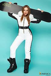 (от 42 до 52 размера) Современный женский зимний комбинезон лыжный с контратными лампасами и мехом vN1512