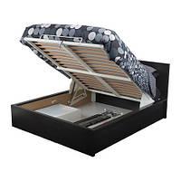 MALM Кровать с подъемным механизмом, черно-коричневый 140х200