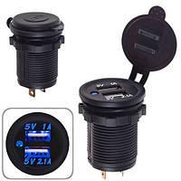 Автомобильное зарядное устройство 2 USB 12-24V врезное в планку  NEW (10250 USB-12-24V 3,1A BLU)