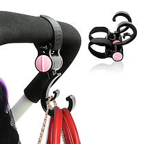 Крючки для коляски на липучке Черный с розовым (05152)
