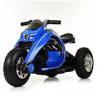 Детский трехколесный мотоцикл на аккумуляторе с резиновыми колесами Bambi M 4134A-4 синий