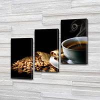 Модульная картина Кофе, зерна, чашка с паром на Холсте син., 70x80 см, (50x25-2/50х25)