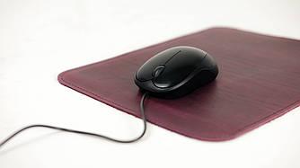Кожаный коврик для мышки Винтажная кожа цвет Бордо
