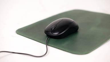 Кожаный коврик для мышки Винтажная кожа цвет Зеленый