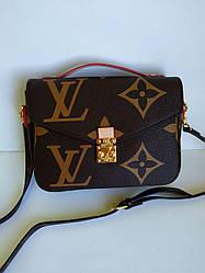 Женская сумка клатч Louis Vuitton Metis темно коричневый