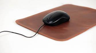Кожаный коврик для мышки Винтажная кожа цвет Коньяк