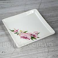Тарелка мелкая для суши квадратная - 19 см, Цветы (Славянская Керамика)