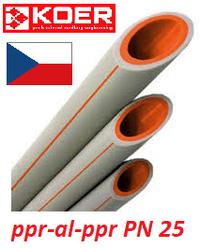 Полипропиленовая труба 25 х 4,2 армированная алюминием KOER для отопления PN 25 Чехия