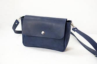 """Женская кожаная сумка """"Макарун XL"""", Винтажная кожа, цвет Синий"""