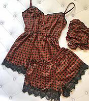 Комплект женский для сна тройка ткань армани шелк принтованый французское кружево цвет бордо