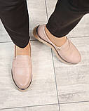 Стильные бежевые женские туфли лоферы, фото 4