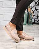 Стильные бежевые женские туфли лоферы, фото 2