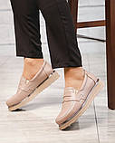 Стильные бежевые женские туфли лоферы, фото 6