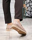 Стильные бежевые женские туфли лоферы, фото 7