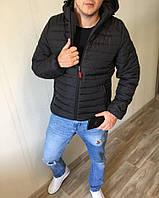Куртка мужская в стиле Puma демисезонная черная с капюшоном до -2* С / осенняя весенняя