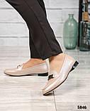 Шикарные бежевые кожаные туфли лоферы с декором, фото 2
