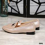 Шикарные бежевые кожаные туфли лоферы с декором, фото 6
