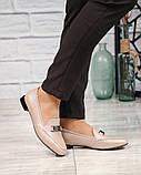 Шикарные бежевые кожаные туфли лоферы с декором, фото 7