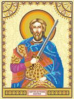Схема для вышивки иконы бисером на натуральном художественном холсте Святой Максим