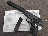 Детский спринговый металлический пистолет с глушителеммини кольт 1911 с пульками страйкбольный