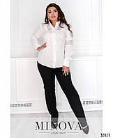 Нарядный брючный костюм с нежной белой блузой с 50 по 60 размер