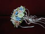 Свадебный букет-дублер из пионов и роз молочный с пудровым и голубым, фото 2